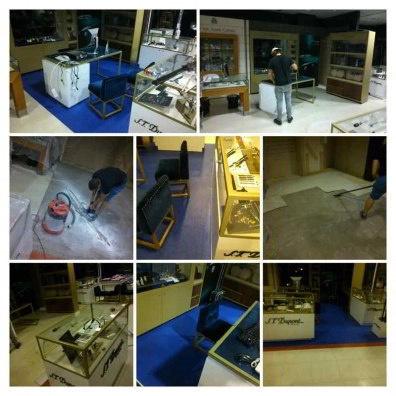 Montaje instalación de Suelo Vinilo PVC en Centros Comerciales como EL CORTE INGLES