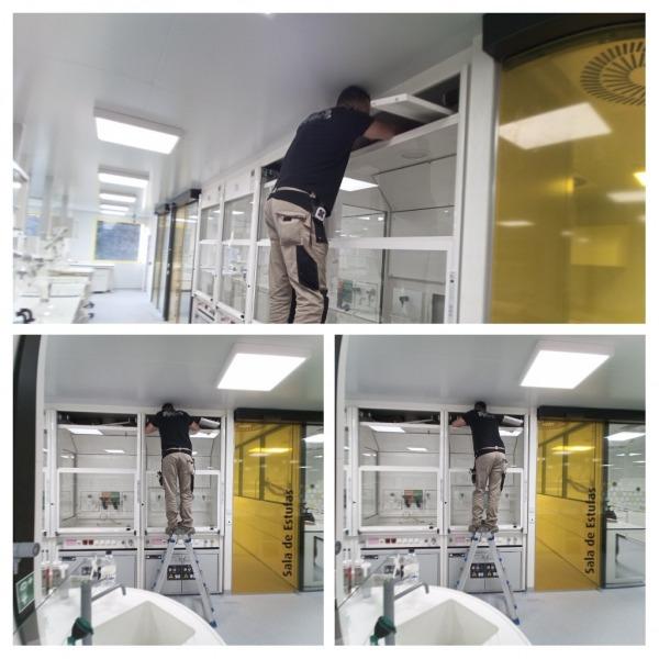 Montaje de vitrinas de gases mobiliario técnico